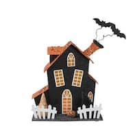 """9.5"""" LED Lighted Glitter Drenched Halloween Haunted House Table Top Decoration - Black"""