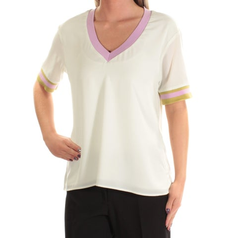 CYNTHIA ROWLEY Womens Ivory Short Sleeve V Neck T-Shirt Top Size: S