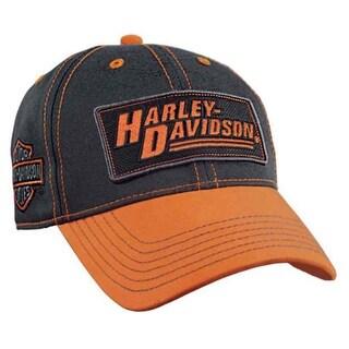 Harley-Davidson Men's Embroidered Utility Baseball Cap, Grey & Orange BCC23364