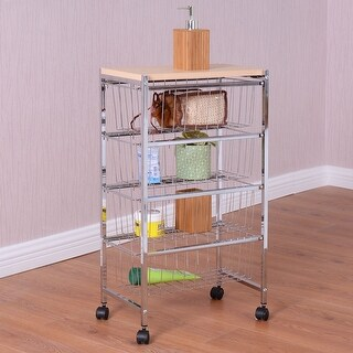 Costway 4 Tiers Rolling Baskets Storage Rack Trolley Cart Home Kitchen  Garage W/Wood Top
