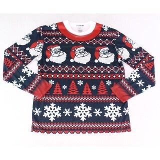Faux Real NEW Blue Mens Small S Santa Clause Print Nightshirt Sleepwear
