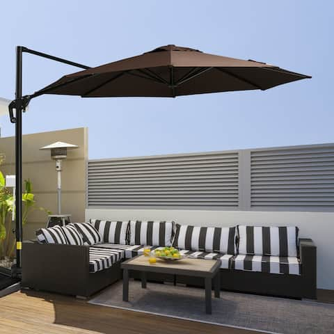 Outsunny 10' Hanging Tilt Offset Cantilever Patio Umbrella w/ Base Stand, UV Fighting Canopy, & 360° Rotation