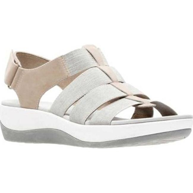 2019 factory price first rate superior materials Clarks Women's Arla Shaylie Slingback Sand/White Heathered Elastic