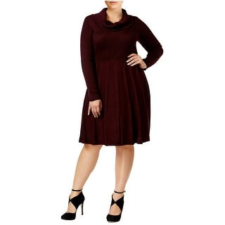Calvin Klein Plus Size Cowl Neck Elbow Patch Sweater Dress