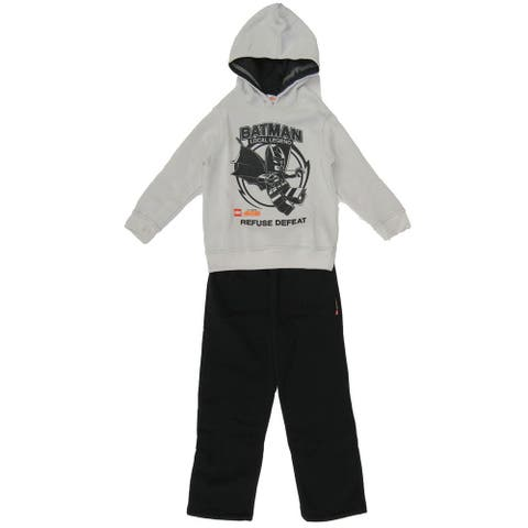 DC Comic Little Boys Lego Batman Gray Hooded Sweatshirt Black Pants Outfit - 5/6