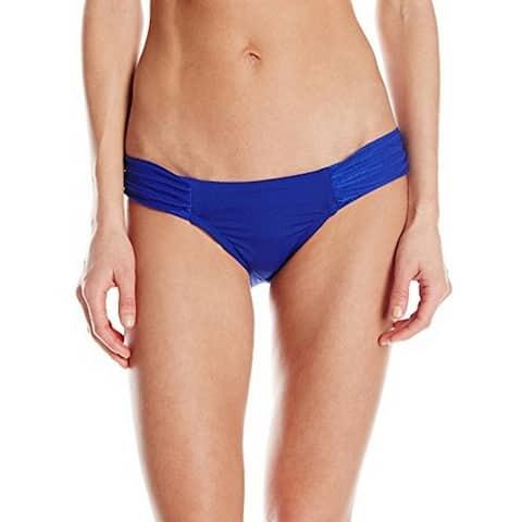 Robin Piccone Women's Yolanda Pleated Shirred Tab Side Bikini Bottom, Cobalt, Small - Cobalt