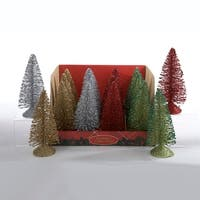 "16 Gold, Silver, Red and Green Glittered Miniature Table Top Christmas Trees 6"" - multi"