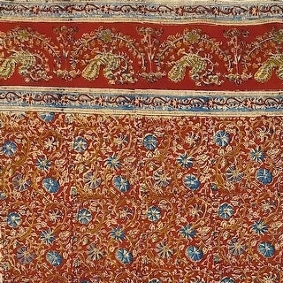 Handmade 100% Cotton Block Print Vegetable Dye Curtain Panel Cotton 46x84 Red - 46x84 inches