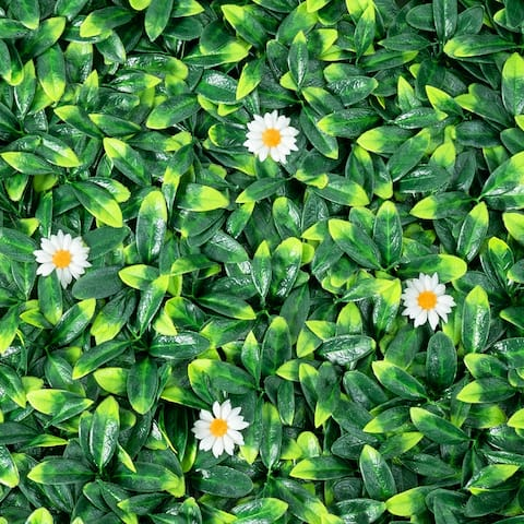 Gymax 12PCS 20x20inch Artificial Daisy Hedge Plant Privacy Fence Hedge