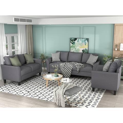 Polyester-blend 3 Pieces Sofa Set, Living Room Set