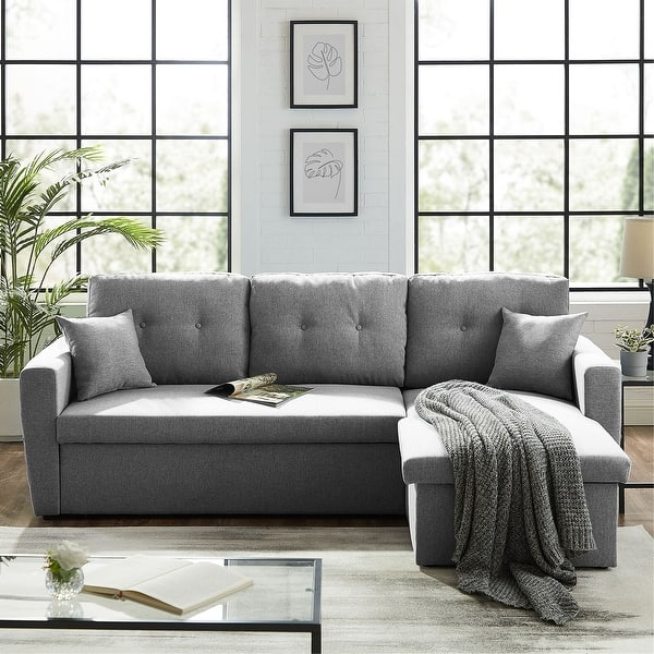 86 6 Reversible Sofa Bed With Storage Sleeper Sectional Couch Overstock 30684501