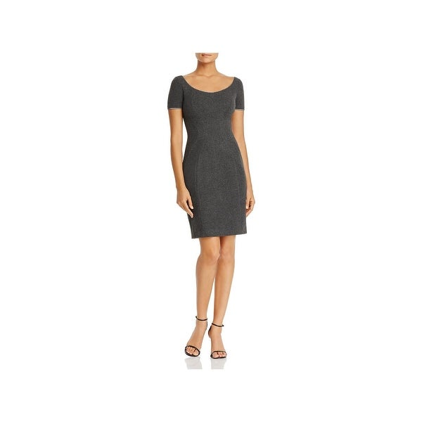 T Tahari Womens Pepita Wear to Work Dress Embellished Neck Short Sleeves