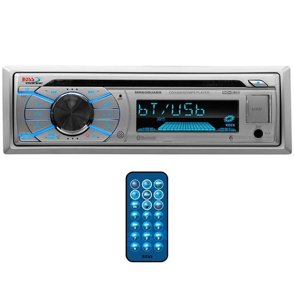 Boss Marine Single Din Receiver CD/MP3/USB/SD Front Aux RemoteSilver