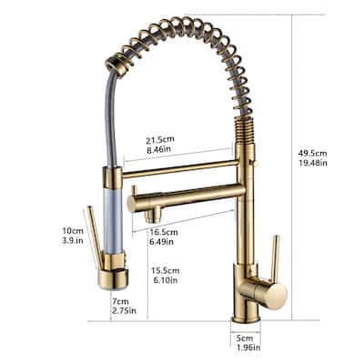 Gold Pull Down Pre Rinse Kitchen Faucet with Spring Spout