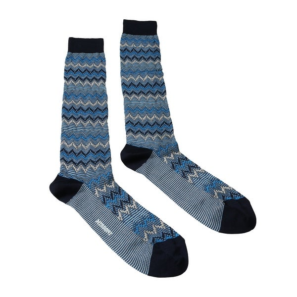 Missoni GM00CMU5445 0002 Blue/Black Boot Socks - M