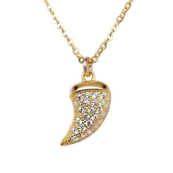 """Julieta Jewelry CZ Horn Gold Charm 16"""" Necklace"""