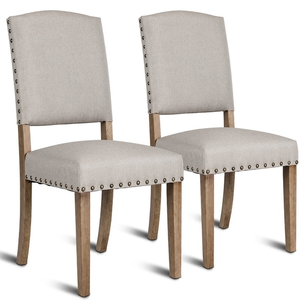 Shop Costway Set Of 2 Nailhead Dining Side Chair Fabric
