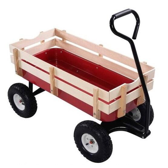 Costway Wagon ALL Terrain Pulling Children Kid Garden Cart Outdoor   Red