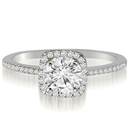 0.70 cttw. 14K White Gold Petite Halo Round Cut Diamond Engagement Ring