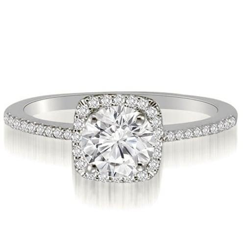 0.95 cttw. 14K White Gold Petite Halo Round Cut Diamond Engagement Ring