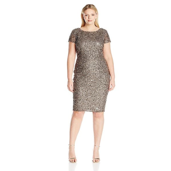 87daf9173 Adrianna Papell Plus Size Beaded Cap Sleeve Sheath Cocktail Dress - 16W.  Image Gallery