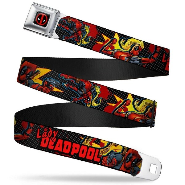 Deadpool Logo Full Color Black Red White Lady Deadpool 3 Action Poses Pop Seatbelt Belt
