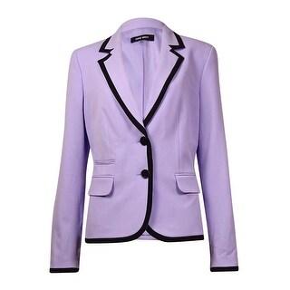Nine West Women's Contrast Trim Button Front Blazer - 4