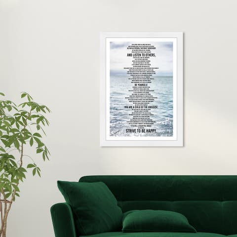 Wynwood Studio 'Desiderata Inspiration' Typography and Quotes Blue Wall Art Framed Print