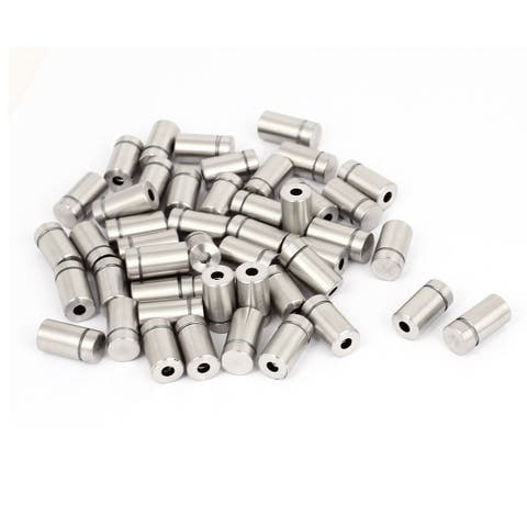 12mmx22mm Stainless Steel Decorative Advertising Screw Nails Silver Tone 50Pcs