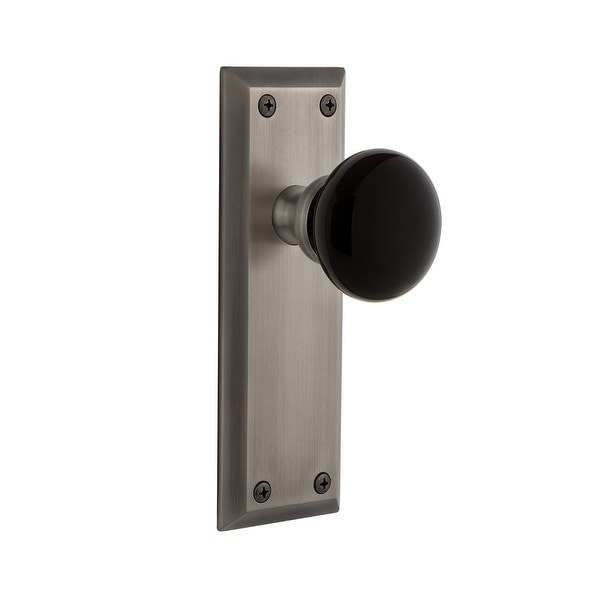 """Grandeur FAVCOV_PSG_238 Fifth Avenue Solid Brass Rose Passage Door Knob Set with Coventry Knob and 2-3/8"""" Backset"""