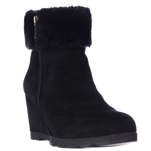 A35 Oreena Wedge Winter Ankle Booties, Black