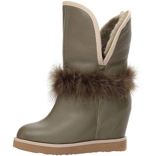 Luxe Co. Womens Touche Wedge Almond Toe Mid-Calf Cold Weather Boots