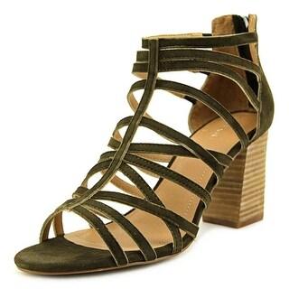 Tahari Andi Women Open-Toe Suede Green Heels