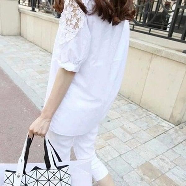 28a6b30fa1f77 Street Style Summer Lace Sleeve Blouse - Black - M
