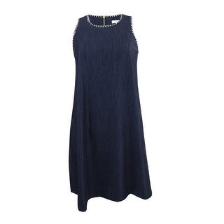 Calvin Klein Women's Denim Embroidered Shift Dress - Blue