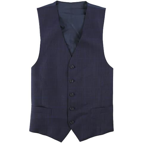 Michael Kors Mens Tonal Plaid Five Button Vest