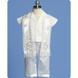 Angels Garment Baby Boy White Pants Stole Christening Outfit Set 3-24M