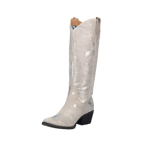 """Dingo Western Boots Womens 14"""" Pull On #Giddy Up Cow Print"""