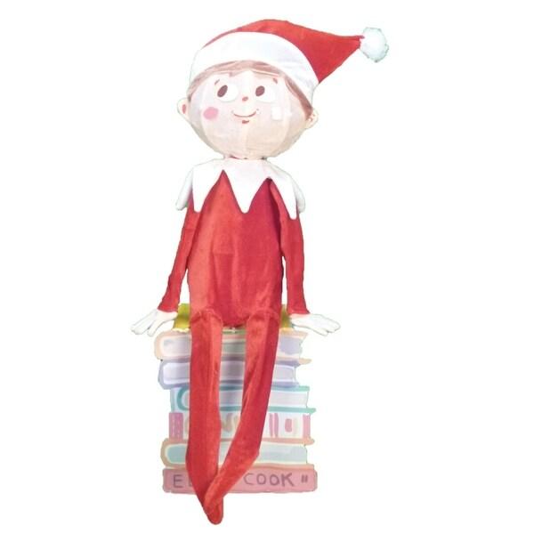 "32"" Pre-Lit Elf on the Shelf 3-D Sitting Elf Christmas Outdoor Decoration - Clear Lights"