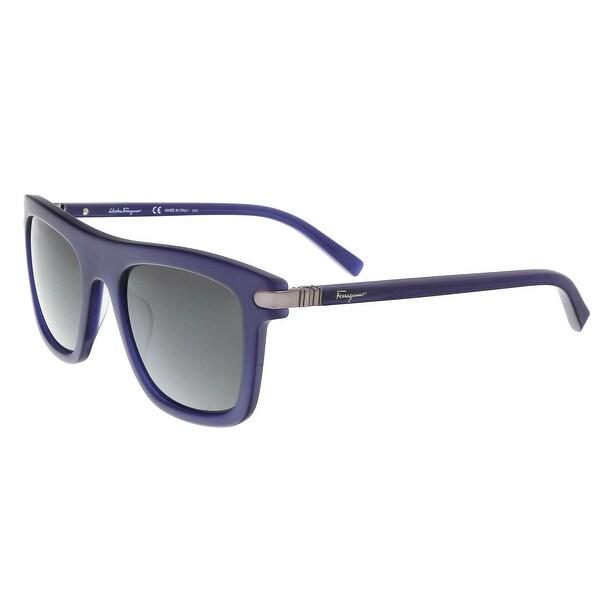 5134c83b1c Shop Salvatore Ferragamo SF785 S 414 Blue Matte Rectangle Sunglasses ...