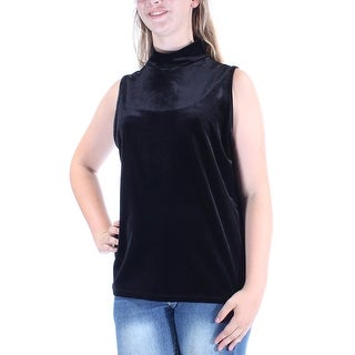 Womens Black Sleeveless Cowl Neck Casual Top Size L