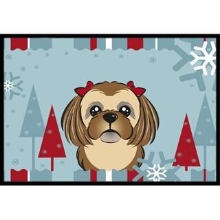 Carolines Treasures BB1745JMAT Winter Holiday Chocolate Brown Shih Tzu Indoor & Outdoor Mat 24 x 36 in.