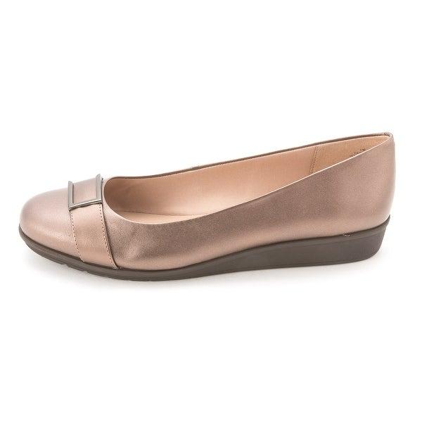Easy Spirit Womens JIVANTA Leather Closed Toe Slide Flats