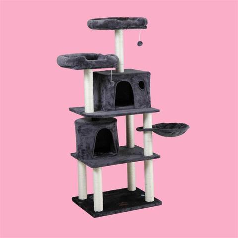 5ft Big Cat Tree House Kitty Apartment Cat Scratch Board