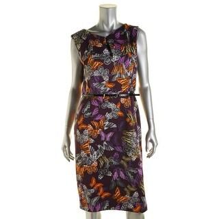 Ellen Tracy Womens Matte Jersey Pleated Scuba Dress