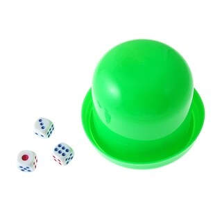 Game Dice Roller Cup Green w 3 Dices