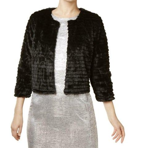 Calvin Klein Black Womens Size Medium M Faux-Fur Tiered Jacket