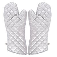 Kitchen Bakery Heat Resistance Microwave Baking Oven Mitt Gloves Silver White