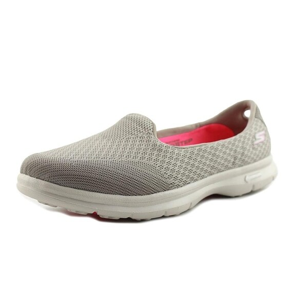 Skechers Go Step-Elated Women Round Toe Canvas Nude Walking Shoe