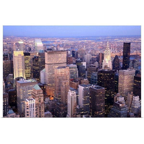 """""""Aerial view towards Midtown and Upper East Side Manhattan, New York"""" Poster Print"""